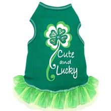 Cute and Lucky Tank Dog Dress - Green