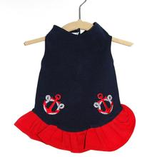 Daisy & Lucy Anchors Away Dog Dress - Navy/Red