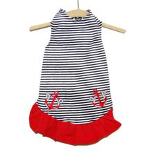 Daisy & Lucy Nautical Stripe with Anchor Dog Dress
