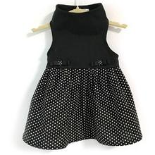 Daisy and Lucy Black Top with Black and White Polka Dot Skirt Dog Dress