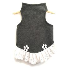 Daisy & Lucy Eyelet Flower Jersey Dog Dress - Heather Gray