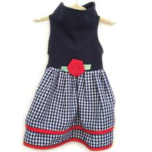 Daisy & Lucy Navy Gingham Layered Dog Dress