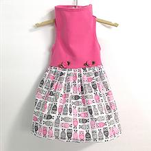 Daisy and Lucy Pink Top with Owl Print Skirt Dog Dress