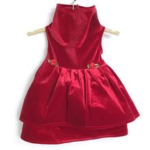 Daisy and Lucy Stretch Velvet Double Skirt Dog Dress - Red
