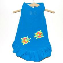 Daisy & Lucy Talking Turtles Dog Dress - Turquoise