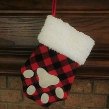 Dallas Dogs Buffalo Plaid Christmas Stocking - Paw