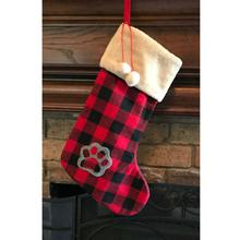Dallas Dogs Buffalo Plaid Christmas Stocking - Paw & Pom Poms