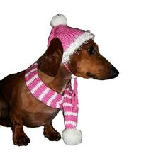 Dallas Dogs Bubblegum Pink Dog Hat and Scarf