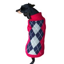 Dallas Dogs Red Argyle Dog Sweater