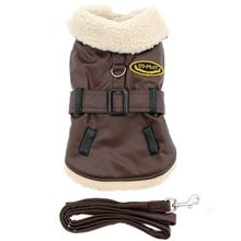 Dark Brown Faux Leather Bomber Dog Coat Harness and Leash
