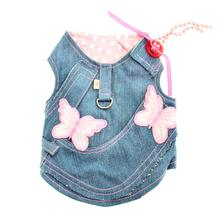 Denim Butterflies Dog Harness Vest w/ Leash by Cha-Cha Couture