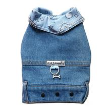 Denim Jean Jacket Dog Harness Vest with Blue Bandana Trim