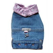 Denim Jean Jacket Dog Harness Vest with Pink Bandana Trim