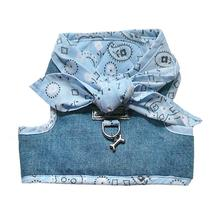 Denim Scarf Tie Dog Harness Vest - Blue Bandana