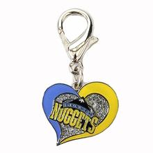 Denver Nuggets Swirl Heart Dog Collar Charm