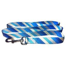Diagonal Stripes 5' Dog Leash by Cha-Cha Couture - Blue