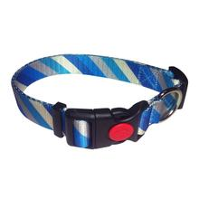 Diagonal Stripes Dog Collar by Cha-Cha Couture - Blue