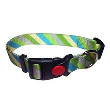 Diagonal Stripes Dog Collar by Cha-Cha Couture - Green