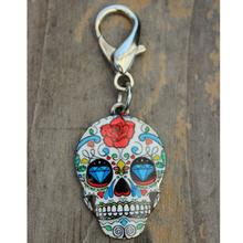 Diamond Eyes Sugar Skull Dog Collar Charm