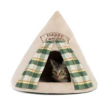 Happy Camper Novelty Hut Pet Bed - Wheat