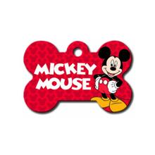 Disney© Mickey Mouse Bone Large Engravable Pet I.D. Tag - Red