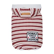 Dobaz Striped Knit Dog Hoodie - Red & White