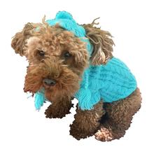 The Dog Squad's Scottish Cable Knit Dog Hat Only - Light Turquoise