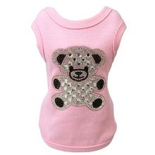 Teddy Bear Rhinestone Dog Tank by Hello Doggie - Pink