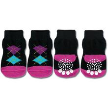 Doggy Socks - Black & Pink Argyle