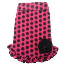 Dots With Bow Pullover Dress - Hot Pink and Black