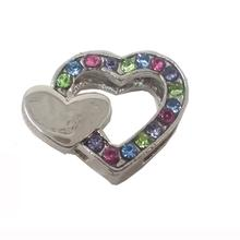 Double Heart Slider Dog Collar Charm - Multi-Colored