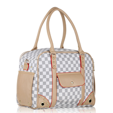 White Checkered Dog Carrier by Parisian Pet