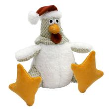 goDog Holiday Santa Rooster Dog Toy - White