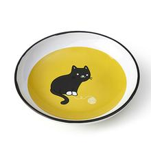 Tangled Kitty Cat Saucer - Yellow/White