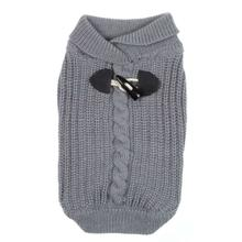 Shawl Collar Dog Sweater - Gray