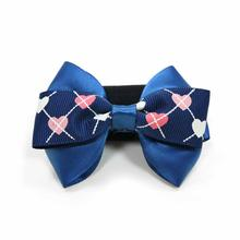 EasyBOW Gentleman Argyle Heart Dog Collar Attachment by Dogo - Blue