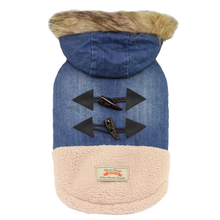 Denim and Sherpa Fur-Trimmed Dog Coat by Dobaz