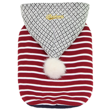 Dobaz Striped Pompom Dog Hoodie - Red