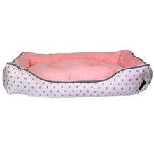 Pastel Polka Dot Plush Dog Bed - Pink