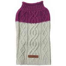 Eddie Bauer Two Tone Cable Knit Dog Sweater - Plum Wine/Light Gray
