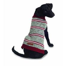 Eddie Bauer Marled Striped Dog Sweater - Gray/Brick Red