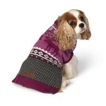 Eddie Bauer Moose Fair Isle Dog Sweater - Dusty Purple and Gray