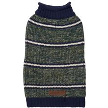 Eddie Bauer Marled Striped Dog Sweater - Dark Thyme/Medium Indigo