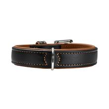 HUNTER Canadian Elk Leather Dog Collar - Black/Cognac