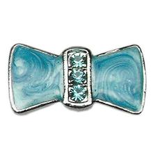Enamel Bow Slider Dog and Cat Collar Charm - Turquoise