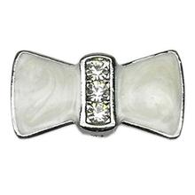 Enamel Bow Slider Dog and Cat Collar Charm - White