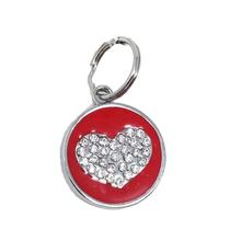 Enamel Circle Heart D-Ring Pet Collar Charm by foufou Dog - Red
