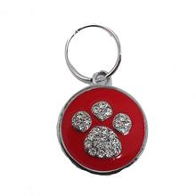 Enamel Circle Paw D-Ring Pet Collar Charm by foufou Dog - Red