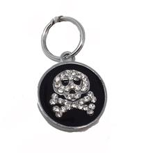 Enamel Circle Skull D-Ring Pet Collar Charm by foufou Dog - Black