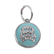 Enamel Circle Skull D-Ring Pet Collar Charm by foufou Dog - Blue